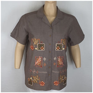 Tops - *PLUS* Embroidered Fall Colors Top, size 22W/24W